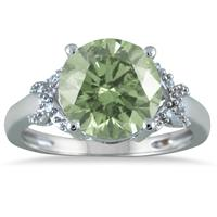3.50 Carat Round Green Amethyst and Diamond Ring in 10K White Gold