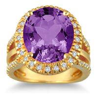7.50 Carat Oval Cut Amethyst and Diamond Ring in 14K Yellow Gold