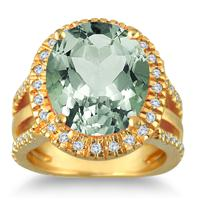 7.50 Carat Oval Cut Green Amethyst and Diamond Ring in 14K Yellow Gold