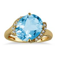 4.50 Carat Oval Blue Topaz and Diamond Ring in 14K Yellow Gold