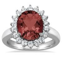 4 Carat Garnet and Diamond Ring in 14K White Gold