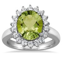 4.00 Carat Peridot and Diamond Ring in 14K White Gold