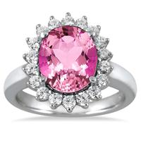 4.00 Carat Pink Topaz and Diamond Ring in 14K White Gold