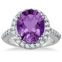5.00 Carat Amethyst and Diamond Halo Ring in 14K White Gold
