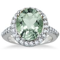 5.00 Carat Green  Amethyst and Diamond Ring in 14K White Gold