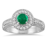 Emerald and Diamond Halo Ring in 10K White Gold