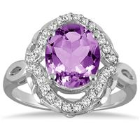 3.50 Carat Oval Amethyst and Diamond Ring in 10K White Gold