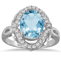 3.50 Carat Oval Blue Topaz and Diamond Ring in 10K White Gold