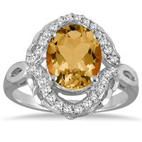 3.50 Carat Oval Citrine and Diamond Ring in 10K White Gold