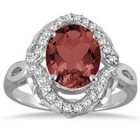 3 1/2 Carat Oval Garnet and Diamond Ring in 10K White Gold