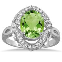 3 1/2 Carat Oval Peridot and Diamond Ring in 10K White Gold