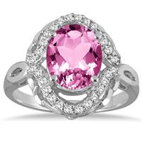 3.50 Carat Oval Pink Topaz and Diamond Ring in 10K White Gold