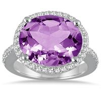 8.00 Carat Oval Amethyst and Diamond Ring in 14K White Gold