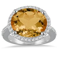8.00 Carat Oval Citrine and Diamond Ring in 14K White Gold