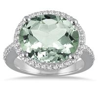 8 Carat Oval Green Amethyst and Diamond Ring in 14K White Gold