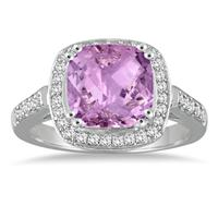 3 1/2 Carat Cushion Cut Amethyst and Diamond Ring in 14K White Gold