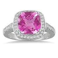 3.50 Carat Cushion Cut Pink Topaz and Diamond Ring in 14K White Gold