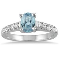 1.00 Carat Oval Aquamarine and Diamond Ring in 14K White Gold