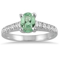 1 Carat Oval Green  Amethyst and Diamond Ring in 14K White Gold