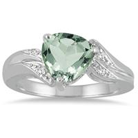 2 1/4 Carat Trillion Cut Green Amethyst and Diamond Ring in 10K White Gold