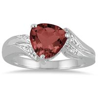 2.25 Carat Trillion Cut Garnet and Diamond Ring in 10K White Gold