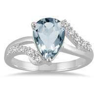 2.00 Carat Pear Shape Aquamarine and Diamond Ring in 10K White Gold
