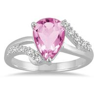 2.00 Carat Pear Shape Pink Topaz and Diamond Ring in 10K White Gold