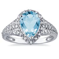 2.00 Carat Pear Shaped Blue Topaz and Diamond Ring in 10K White Gold