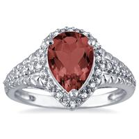 2.00 Carat Pear Shaped Garnet and Diamond Ring in 10K White Gold