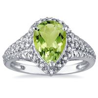 2.00 Carat Pear Shaped Peridot and Diamond Ring in 10K White Gold