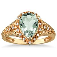 2.00 Carat Pear Shaped Green  Amethyst and Diamond Ring in 10K Yellow Gold