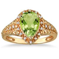 2.00 Carat Pear Shaped Peridot  and Diamond Ring in 10K Yellow Gold