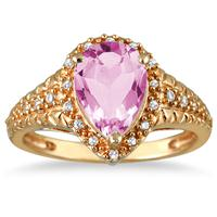 2.00 Carat Pear Shaped Pink Topaz and Diamond Ring in 10K Yellow Gold