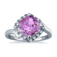 2.50 Carat Cushion Cut Amethyst and Diamond Ring in 10K White Gold