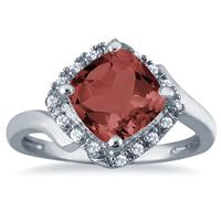 2.50 Carat Cushion Cut Garnet and Diamond Ring in 10K White Gold