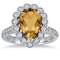 5.00 Carat Pear Shape Citrine and Diamond Ring in 14K White Gold