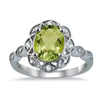 2.15 Carat Oval Peridot and Diamond Ring in .925 Sterling Silver