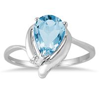 1.50 Carat Blue Topaz and Diamond Ring in .925 Sterling Silver