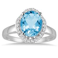 3.50 Carat Oval Blue Topaz and Diamond Ring in 14k White gold