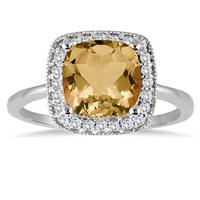2.50 Carat Cushion Cut Citrine and Diamond Ring in 14K White Gold
