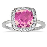 2.50 Carat Cushion Cut Pink Topaz and Diamond Ring in 14K White Gold