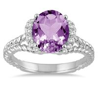 3.50 Carat Oval Amethyst and Diamond Ring in 14K White Gold