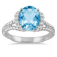 2 1/4 Carat Oval Blue Topaz and Diamond Ring in 14K White Gold