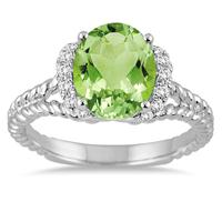 3.50 Carat Oval Peridot and Diamond Ring in 14K White Gold