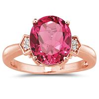 4 1/2 Carat Pink Topaz & Diamond Ring in 14K Rose Gold
