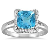 2 Carat Cushion Cut Blue Topaz and Diamond Ring in 14K White Gold