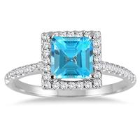 1.40 Carat Princess Cut Blue Topaz and Diamond Ring in 10K White Gold