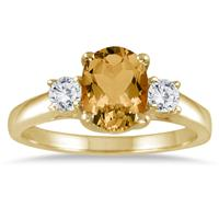 1.75 Carat Citrine and Diamond Three Stone Ring 14K Yellow Gold