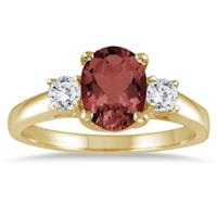1.75 Carat Garnet and Diamond Three Stone Ring 14K Yellow Gold