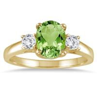 1 3/4 Carat Peridot and Diamond Three Stone Ring 14K Yellow Gold